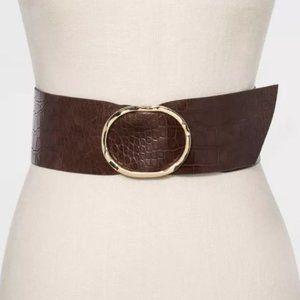 Women's Brown Buckle Embossed Sash Belt Medium